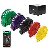 FitBeast Widerstandsband Set, 5 Verschiedene Ebenen Klimmzugband mit Türschnalle und Grip Pads Ideal für Pilates, Training, Physiotherapie, Stretching, Yoga, Heimgymnastik für Männer und Frauen