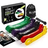 JOYHILL Widerstandsbänder Klimmzug, Fitnessbänd 5 Stärken für Terra Band, Muskelaufbau und Crossfit Freeletics Calisthenics, mit Tasche, Türanker und Übungsguide (5PC-N2)